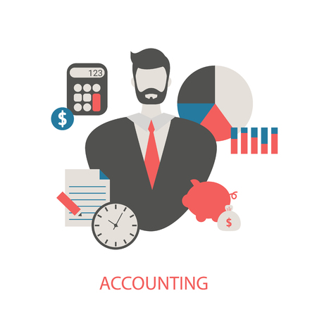 Vector concept of Accounting. Trendy flat design. Иллюстрация
