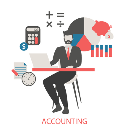 Vector concept of Accounting. Trendy flat design. Stock Vector - 124119476