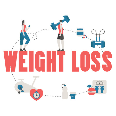 Concept of healthy eating and body weight control with diet icons. Trendy flat design. Illustration