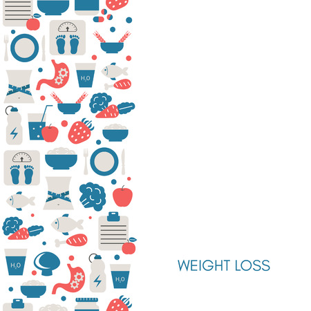 Background with diet and healthy lifestyle icons. Trendy flat design. Иллюстрация