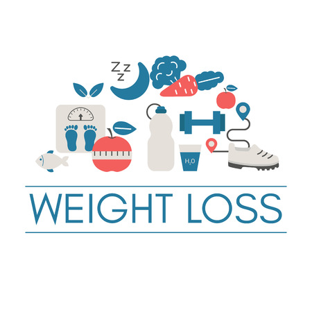 Concept of healthy eating and body weight control with diet icons. Trendy flat design. Иллюстрация