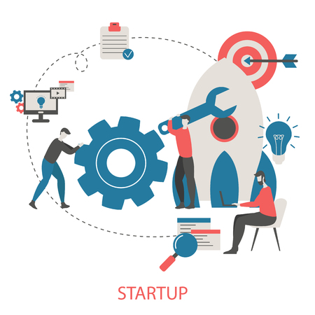 Vector concept of project startup with business icons. Trendy flat design.