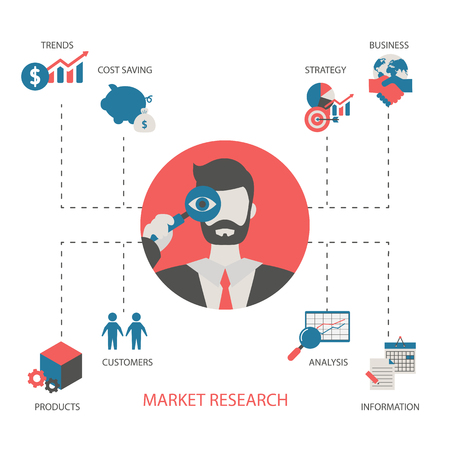 Market research concept with business icons. Trendy flat design. Stock Vector - 123637136