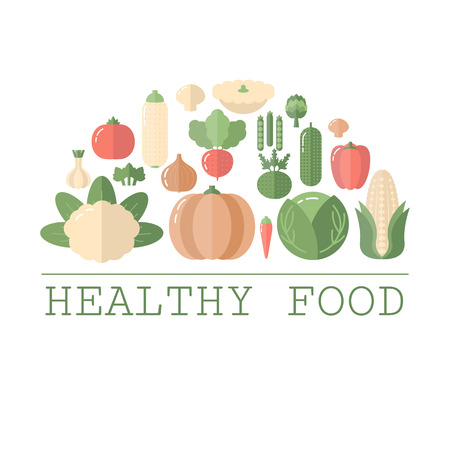 Healthy food concept with vegetables icons. Flat design.