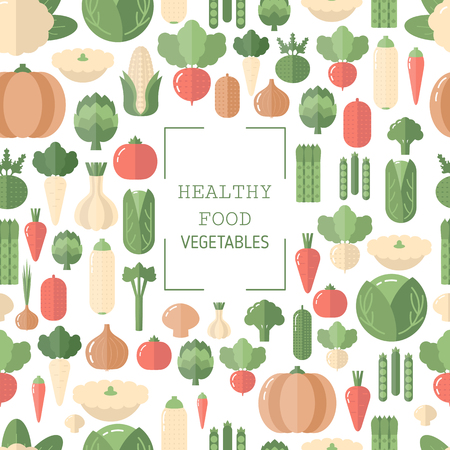Background with vegetables icons. Organic food. Flat design. Ilustração