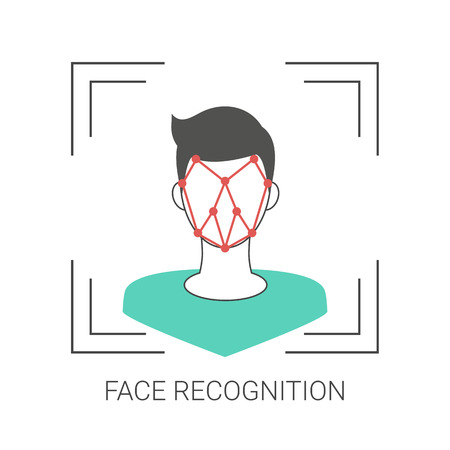 Biometric identification and face recognition system concept. Trendy flat design.