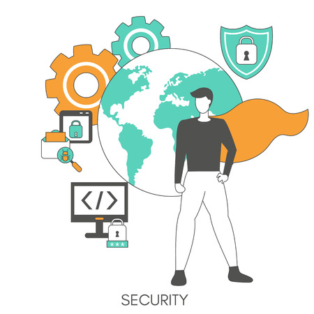 Internet security and data protection concept. Trendy flat design. Vector Illustration