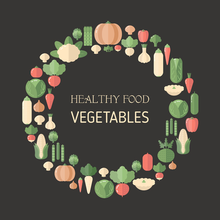 Colorful vegetables icons in round. Flat design. Black background. Иллюстрация