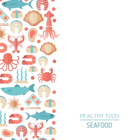 Background with colorful seafood and fish icons. Black background.