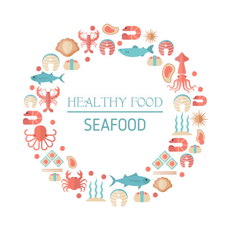 Colorful seafood and fish icons in round. Black background.