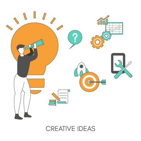 Creative idea concept with light bulb and man. Trendy flat design.