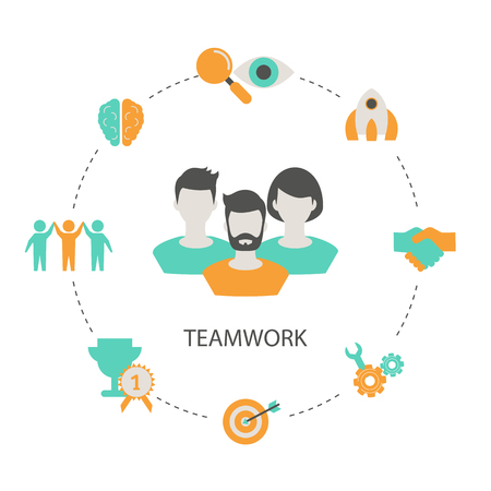 Concept of creative teamwork with people icon. Infographic teamwork and brainstorming. Иллюстрация