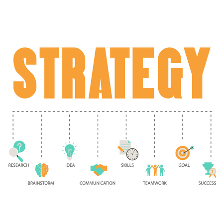 Business and marketing strategy concept with business icons. Trendy flat design.