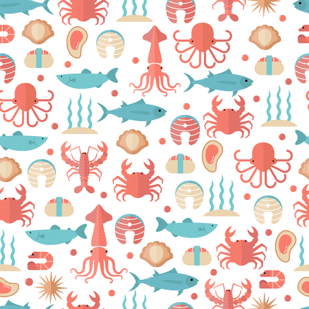Seafood seamless background with various marine animals. Food sign for menu and market. Иллюстрация