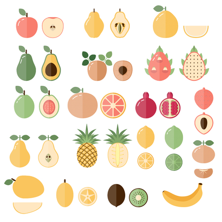 Set of cartoon food icons. Fresh fruits. Illustration