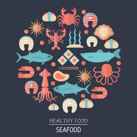 Colorful seafood and fish icons in round.  イラスト・ベクター素材