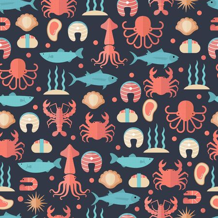 Seafood seamless background with various marine animals. Food sign for menu and market.  イラスト・ベクター素材