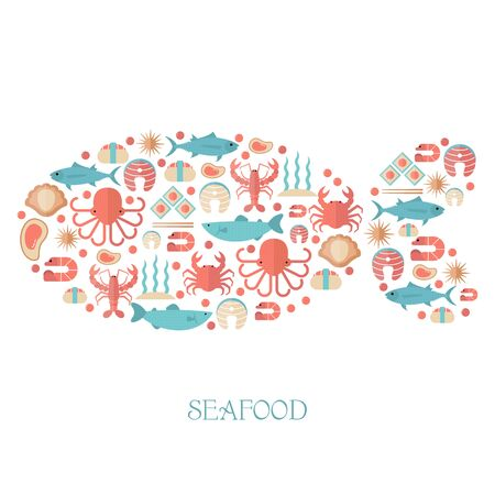 illustration of seafood with various marine animals. Food sign for menu and market.