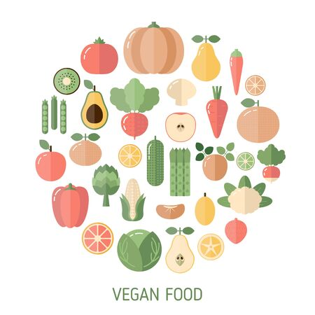 Vegan food background with fruits and vegetables. Organic food icons illustration.