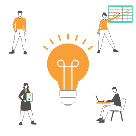Creative idea and teamwork concept with light bulb and people. Trendy flat design. Stock Vector - 124148942