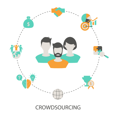 Crowdsourcing concept illustration. Trendy flat design.