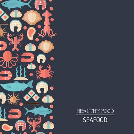 Background with colorful seafood and fish icons.