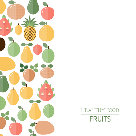 Healthy food background with fruit icons. Vegetarianism and raw food diet.