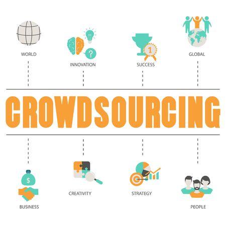 Crowdsourcing concept. Illustration
