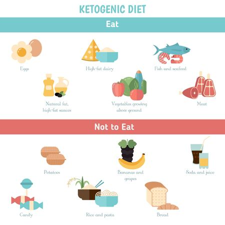 Foods infographics. Ketogenic diet concept with keto food icons. What to eat. Illustration
