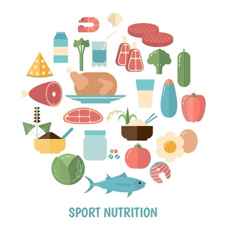 Sport Nutrition concept with food icons. White background. Иллюстрация