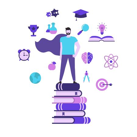 Education and success concept with education icons. Young man stands on a stack of books. Man superhero. Иллюстрация