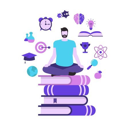 Education and study concept with education icons. Young man is sitting on a stack of books.