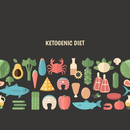 Ketogenic diet background with keto food icons.