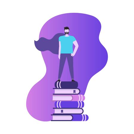 Education and success concept. Young man stands on a stack of books. Man superhero.