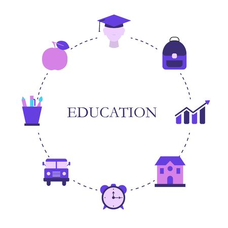 Education design concept with education, school and university elements. Back to School.