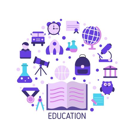 Education design concept with education, school and university icons. Back to School.