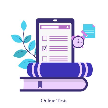 Online testing or E-learning concept. Online education, survey, internet exam.