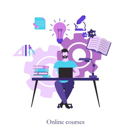 Online course concept illustration. Online education and graduation.  イラスト・ベクター素材