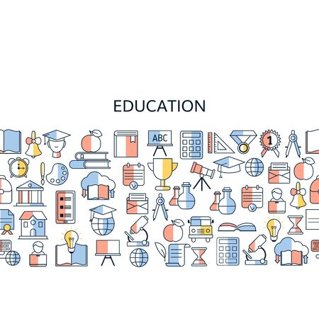 Education design concept. Background with education, school and university icons. 向量圖像