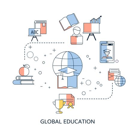 Vector illustration concept for international educational projects, distance education, online learning. Иллюстрация