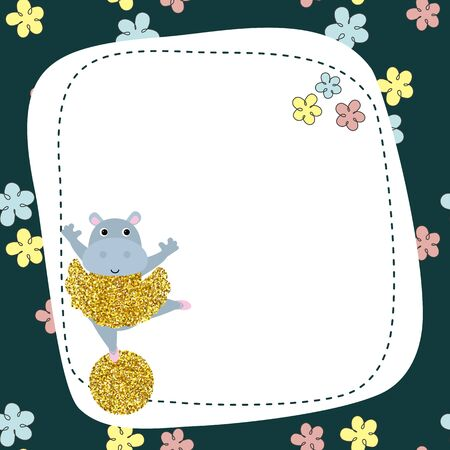 Cute hippo vector illustration with dust glitters. Greeting card. Circus theme. Ilustracja