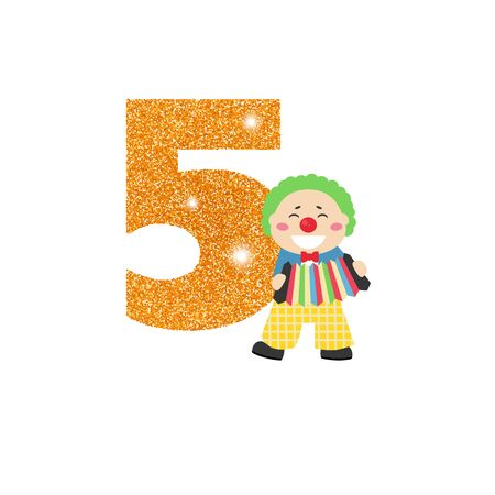 Gold glittering number five. Birthday anniversary number with cute clown. Birthday template with clown for greeting cards, invitations.