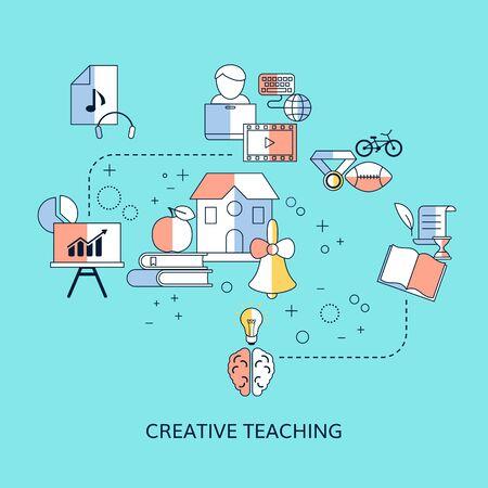 Creative teaching concept with school icons. Vector illustration. Foto de archivo - 131976308