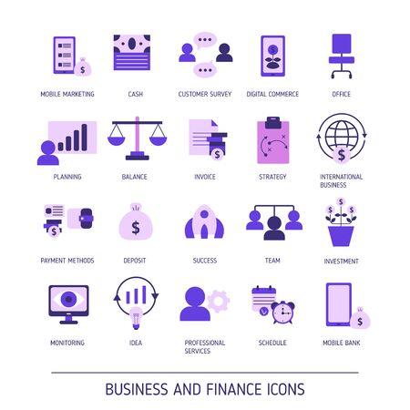 Conjunto de iconos web de negocios y finanzas. Ilustración de vector.