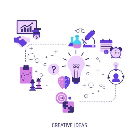 Creative idea and innovation concept with business and finance icons. Vector illustration. Reklamní fotografie - 133924246