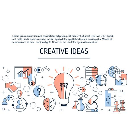 Creative idea and innovation background with business and finance icons. Vector illustration. Reklamní fotografie - 133924247