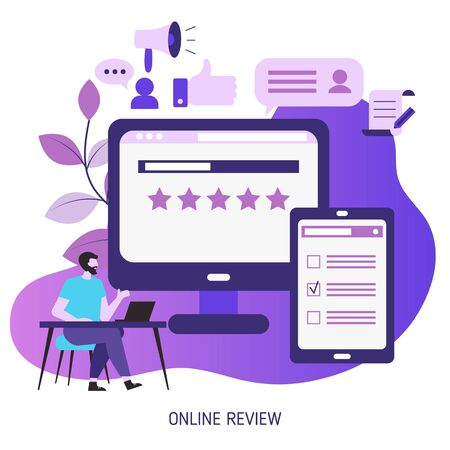 User online reviews concept. Trendy flat design. 版權商用圖片 - 131976532