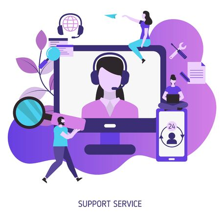 Support service concept. Help and assistance. Vector illustration. Stok Fotoğraf - 131976520