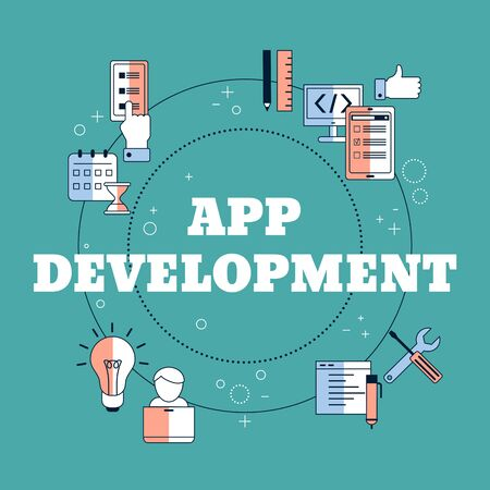 App development and design concept. Making creative products. Vector illustration.