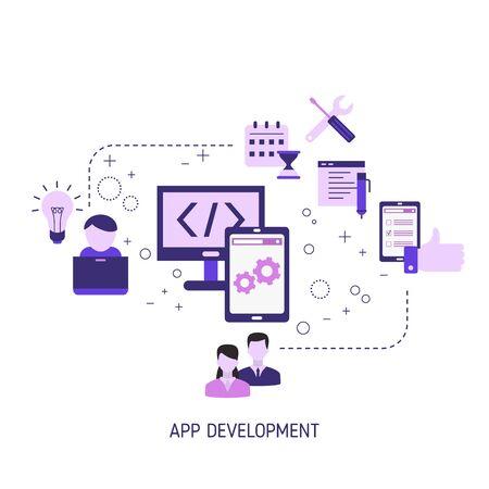 Concepto de diseño y desarrollo de aplicaciones. Elaboración de productos creativos. Ilustración de vector. Ilustración de vector